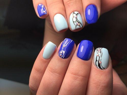 дизайн ногтей в синем цвете 5