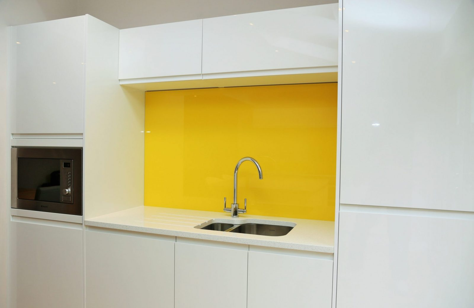 Kitchen Glass Splashbacks  Upstands Finished in Sunflower