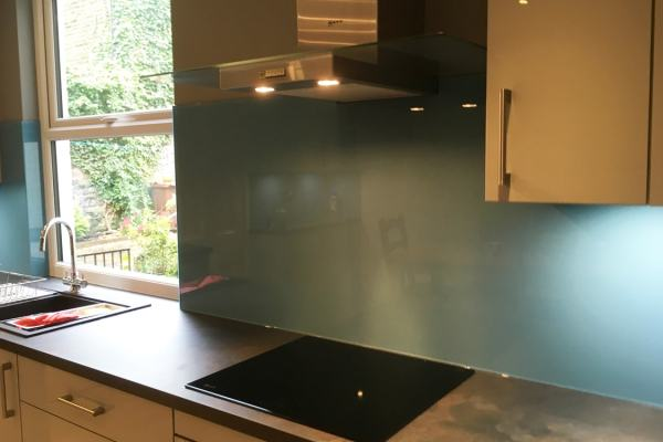 stone blue farrow and ball kitchens Farrow and Ball Stone Blue No.86 Toughened Glass Splashback
