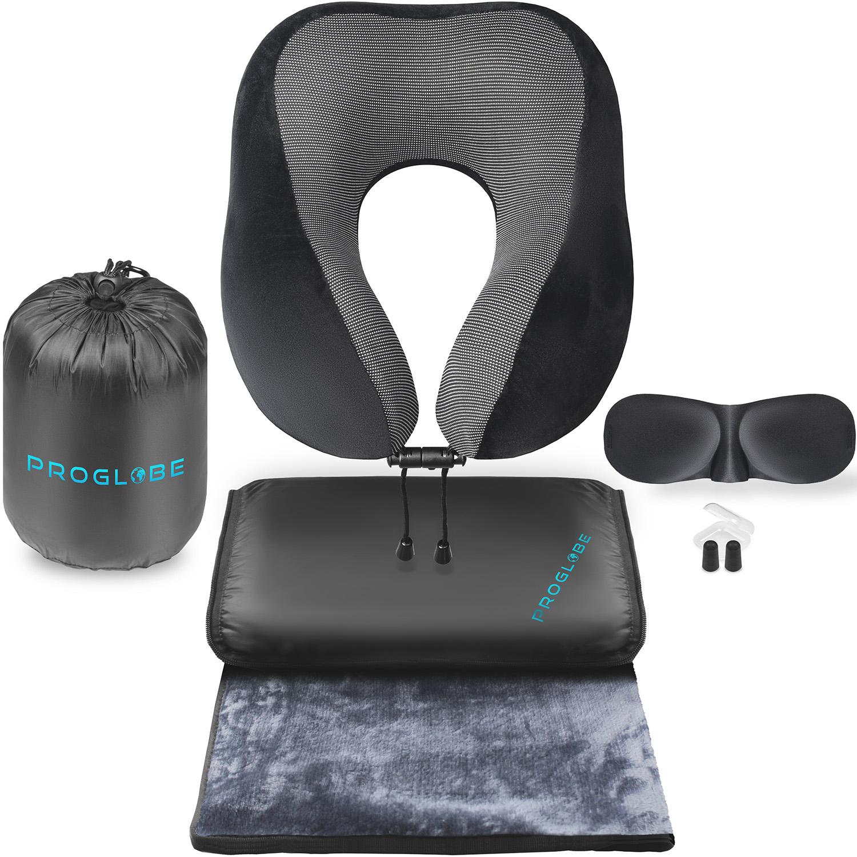 proglobe travel blanket luxury travel set ergonomic airplane neck pillow 100 pure memory foam and super soft fleece blanket premium 3d sleep mask