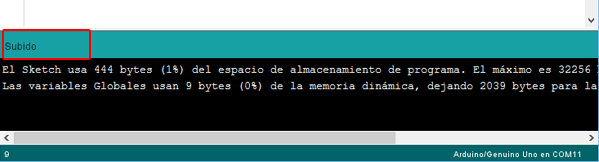 area mensajes IDE Arduino