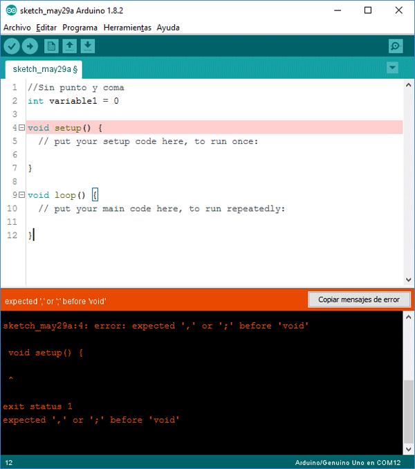 Error punto coma IDE Arduino