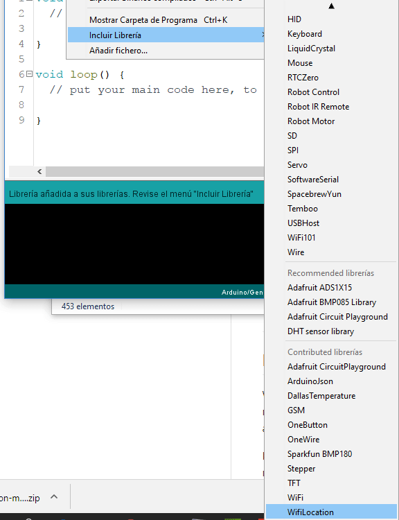 Añadir .zip IDE de Arduino