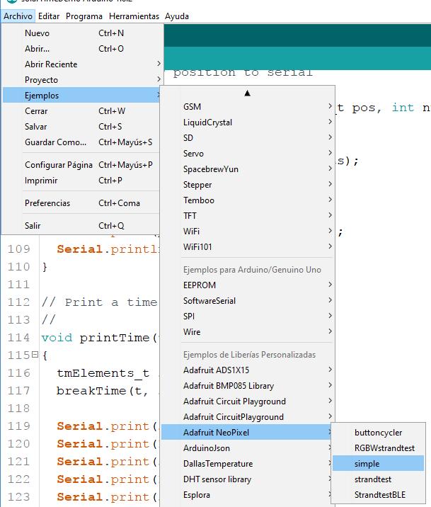 ejemplo simple NeoPixel