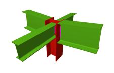 Unión soldada de pilar con dos dinteles articulados, y con dos vigas ortogonales articuladas (en extremo de pilar)