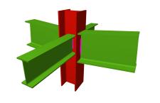 Unión soldada de pilar con dos dinteles articulados, y con dos vigas ortogonales articuladas (pilar pasante)