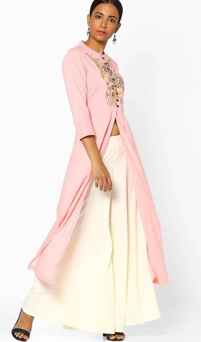 Pink cotton floral embroidery long slit kurta with pallazos