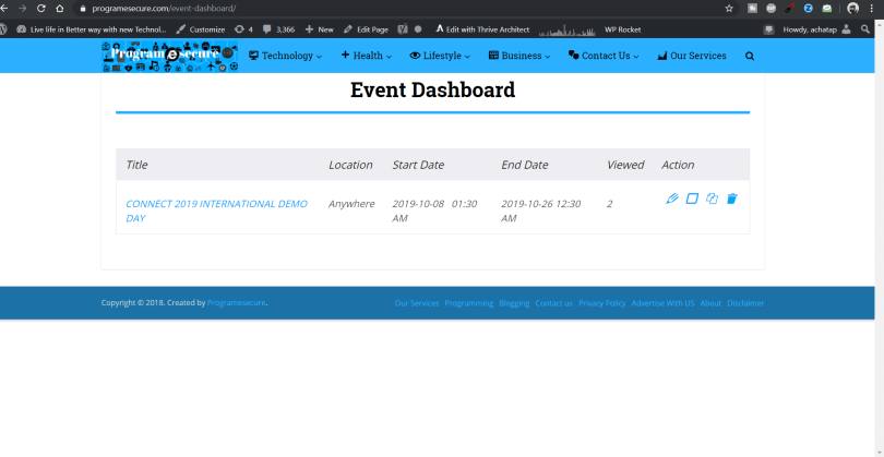 The front-end dashboard