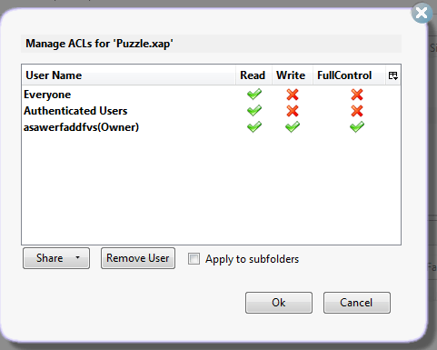 Edit ACL settings in S3 Organizer for your xap file