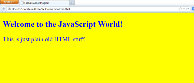 JavaScript(js) first program