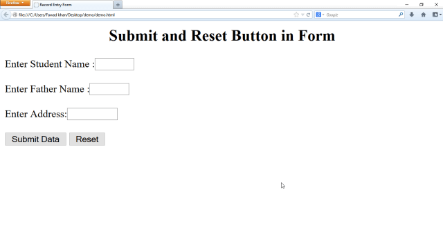 html form how to use submit and reset button in html form