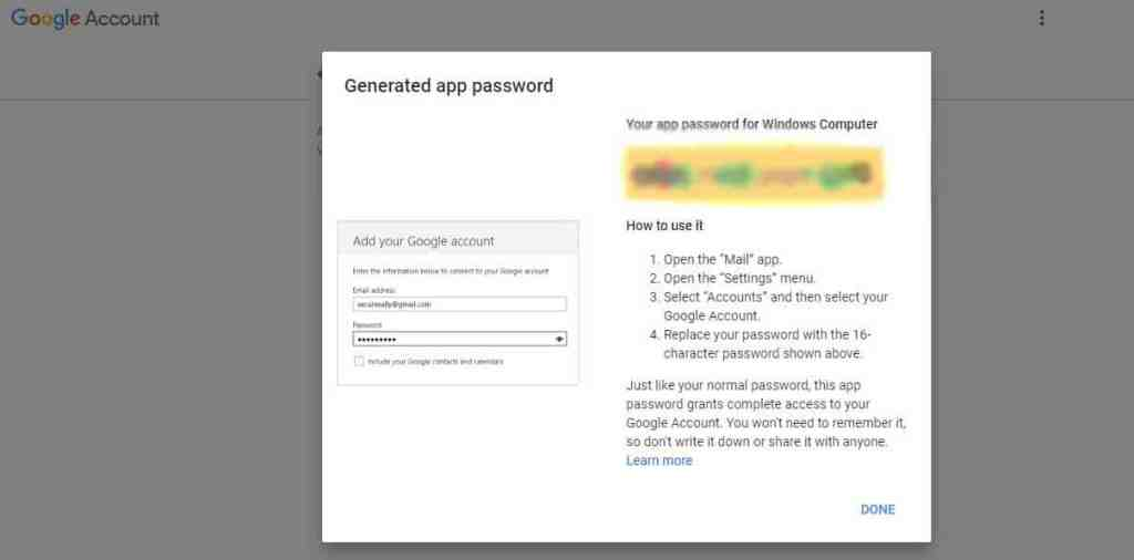 Generated app password in Gmail