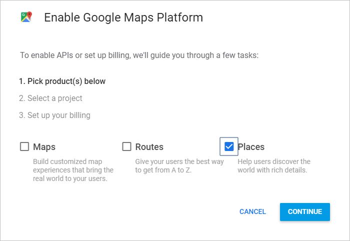 Google Maps Platform - Select Places
