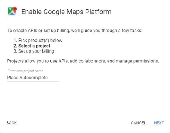 Create New Project in Google Maps Platform