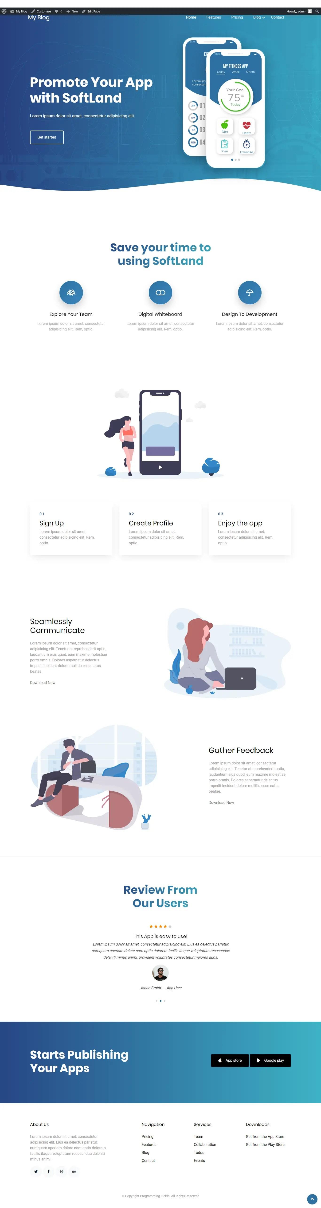 WordPress Custom Template - Homepage result