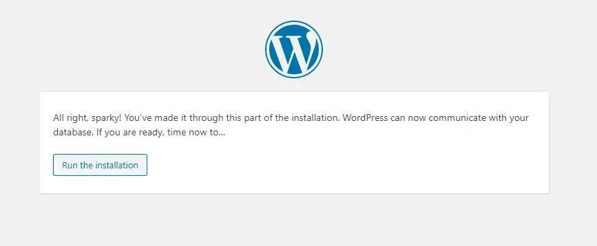 Ready to install WordPress
