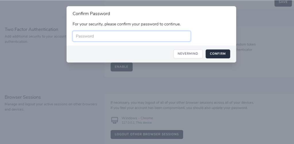 Password Confirmation For Two Factor Authentication