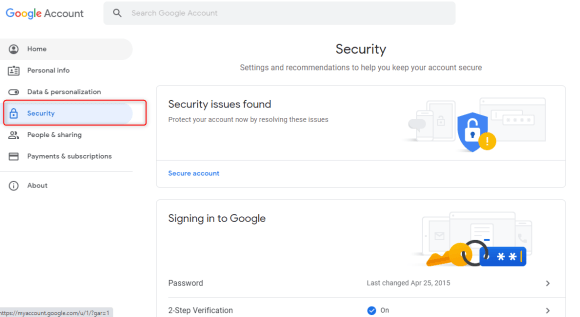 Gmail account Security options