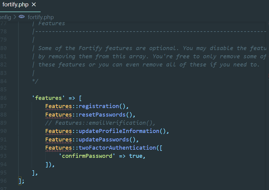Fortify Features Configuration