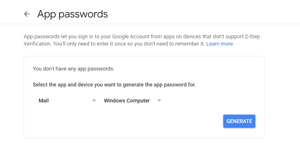 Select app and Device For App password