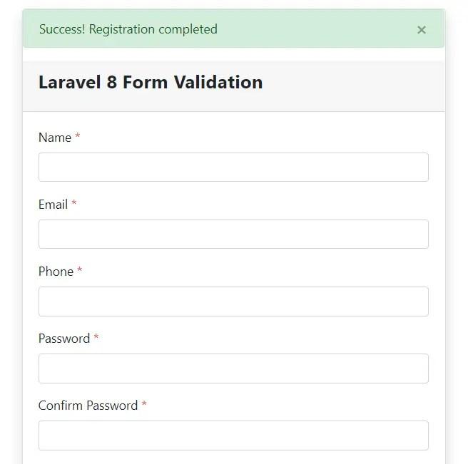 Laravel 8 Form Validation Success