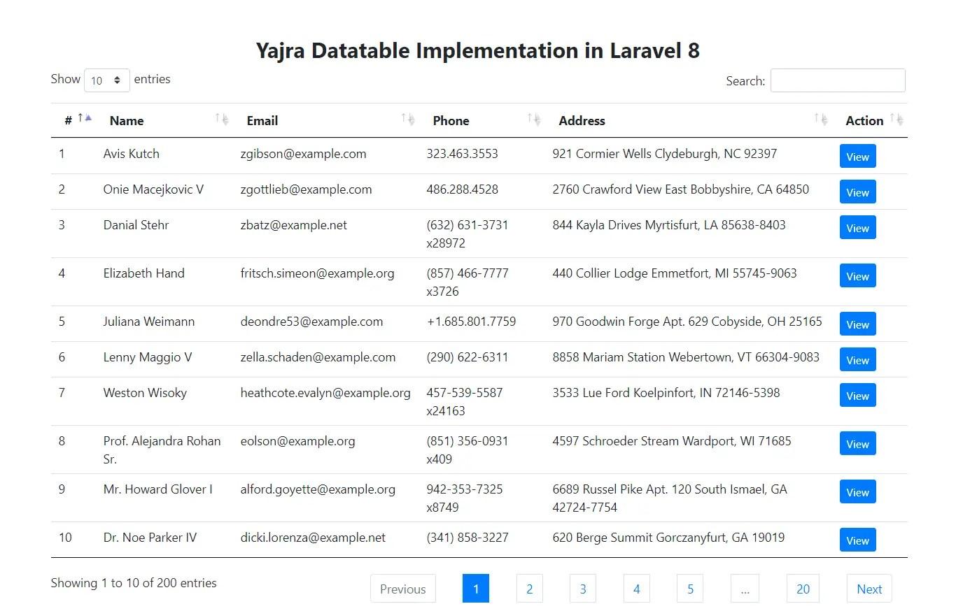 Laravel 8 Yajra Datatables Result