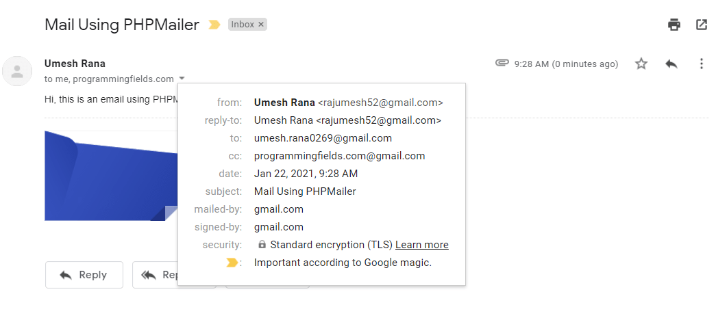 Email Detail Sent By PHPMailer