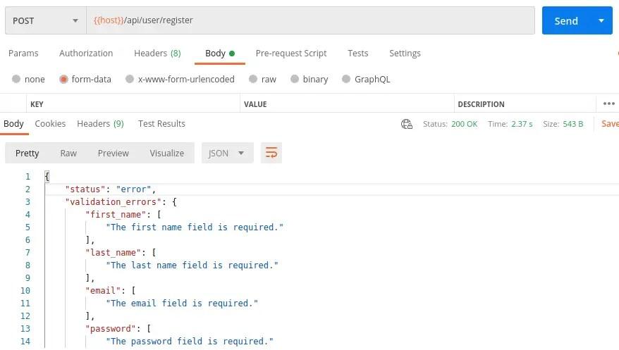 Laravel Todo Register User - Validation Errors