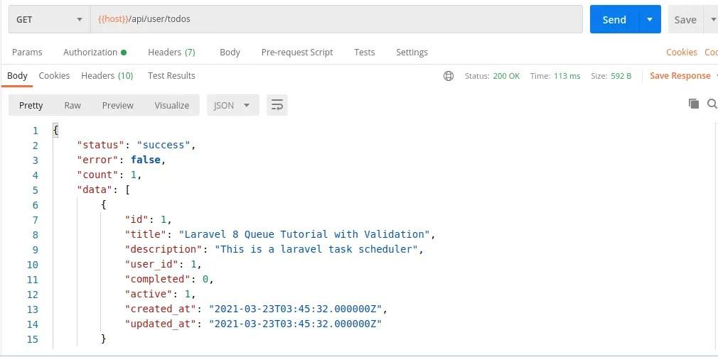 Listing All Todos - Laravel 8 Todo API