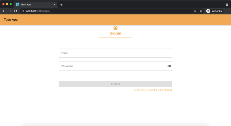 User Sign in page - React Todo App