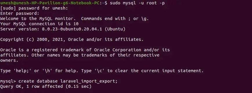 Database Created in MySQL