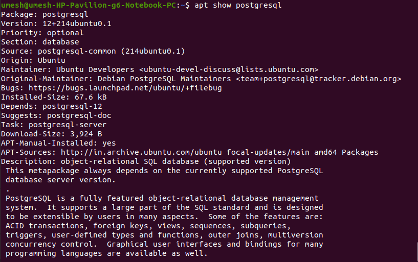 Check PostgreSQL in Ubuntu