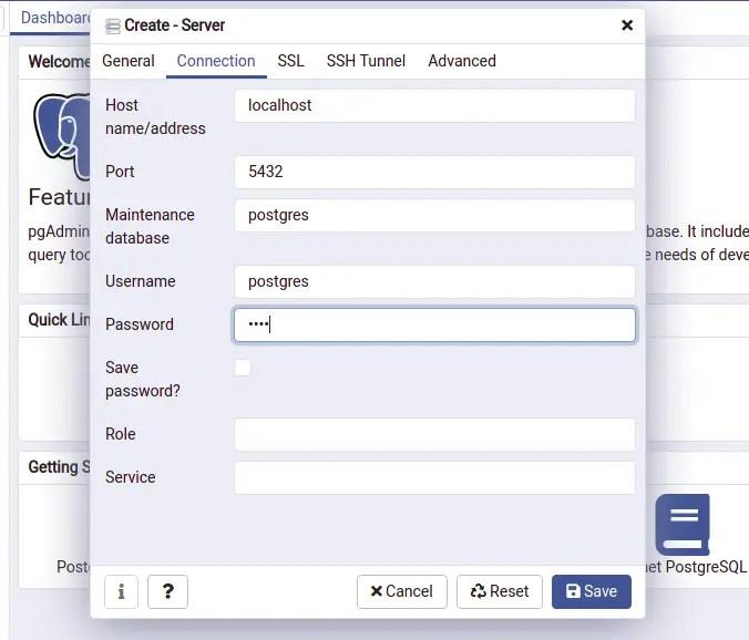 Configure Server in pgAdmin Dashboard