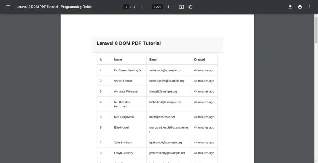 PDF Generated By Laravel DOM PDF