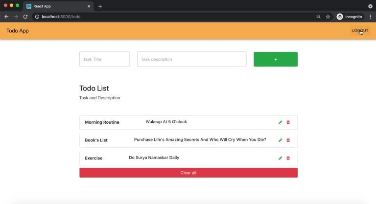 Logout user - React todo app