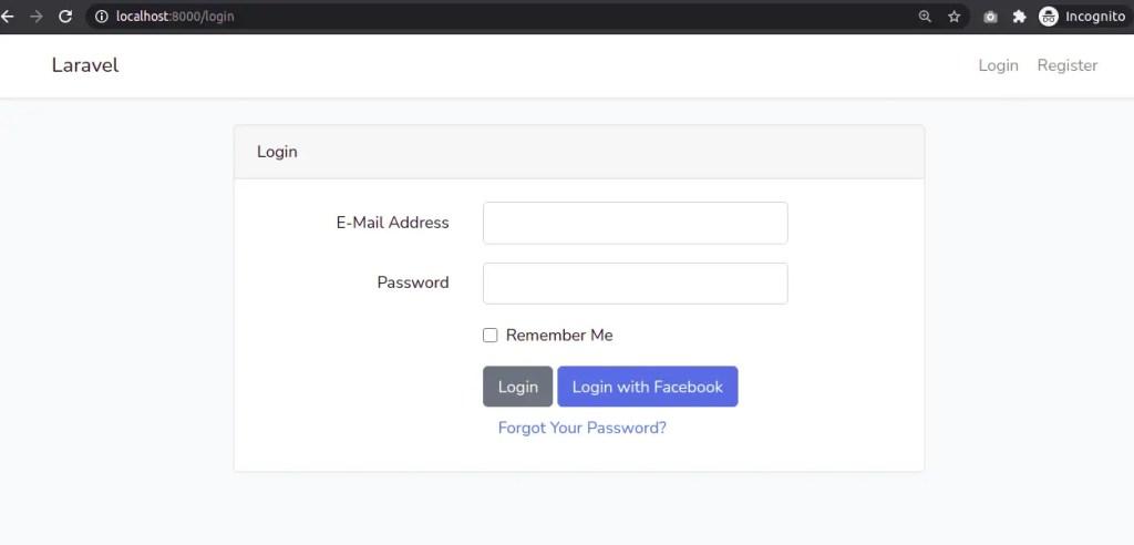 Facebook Login Button in Laravel 8