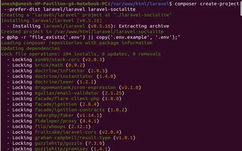 Create New Project in Laravel 8