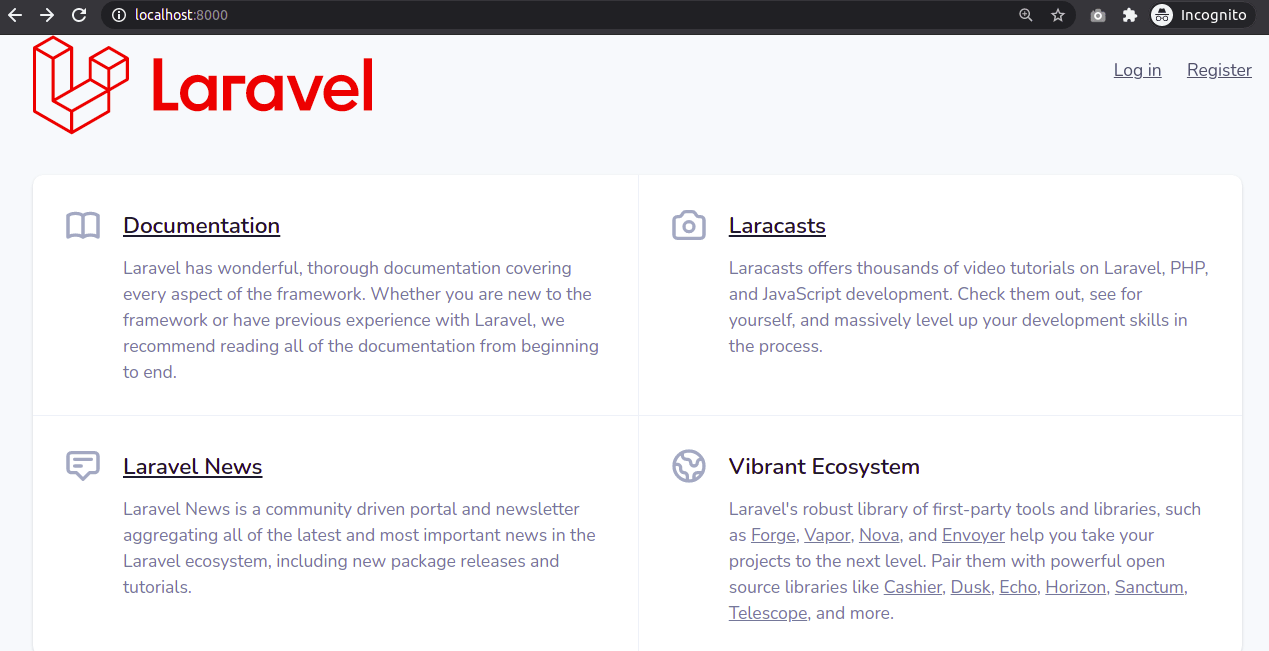 Laravel 8 Homepage with Auth Scaffolding