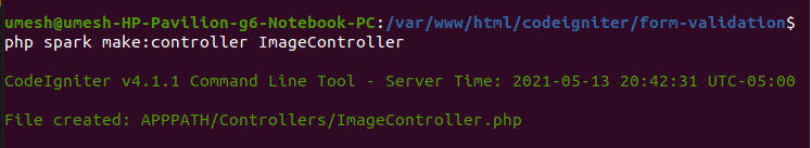 create controller to upload image in codeigniter 4