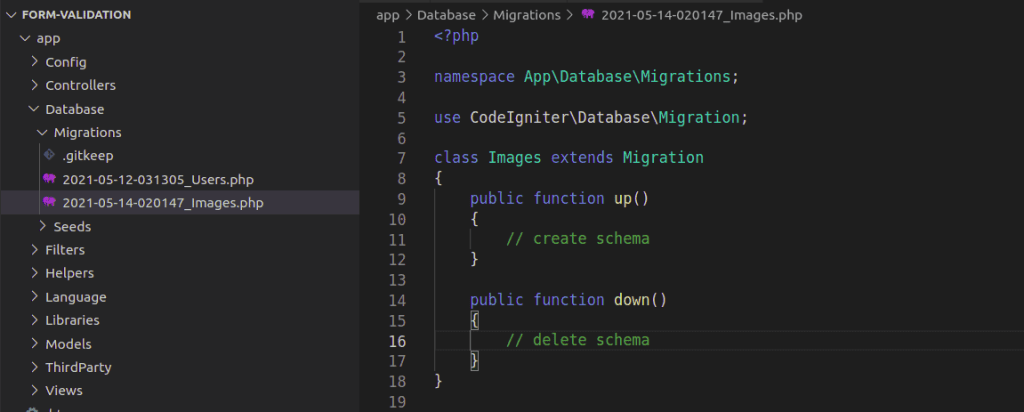 Created Image Table Migration