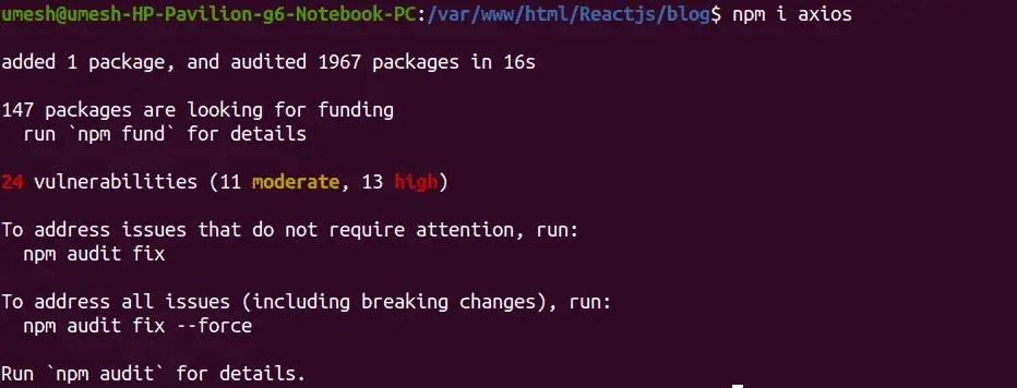 Install Axios in React JS