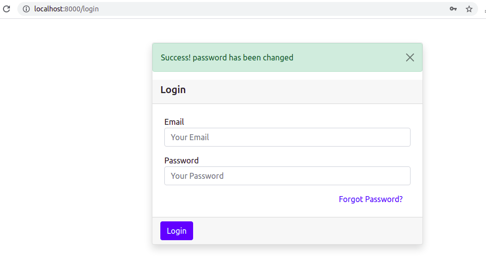 Password Changed and Redirected to Login Page