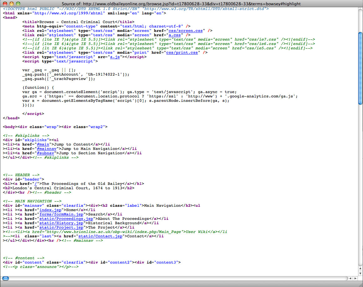 html source for old bailey online web page
