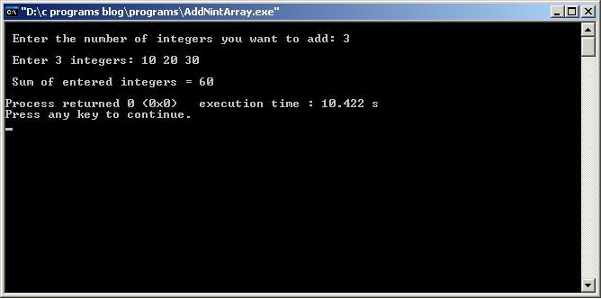 C-Program-Add-N-int-Array