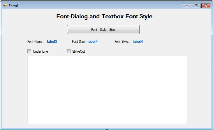 Font Dialog Winforms