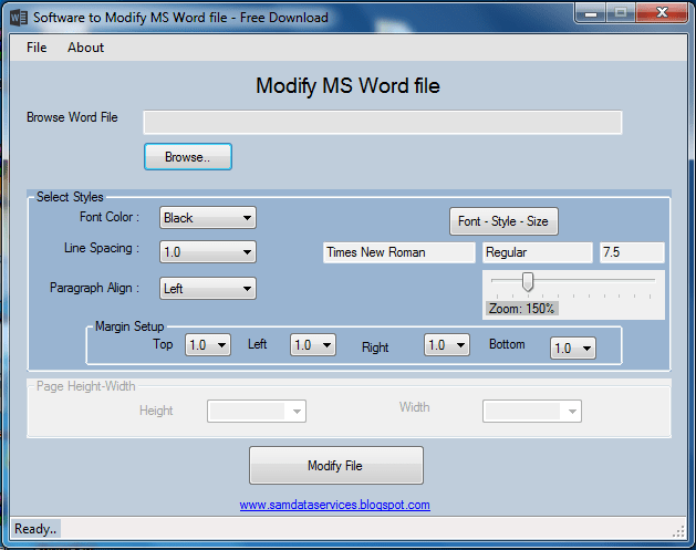 Modify process Word File software