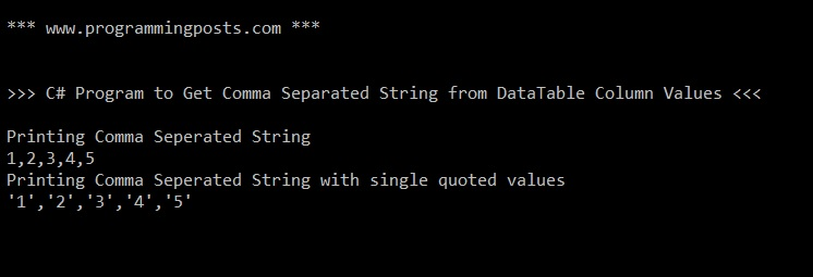 Get Comma (delimiter) Separated String from DataTable Column Values
