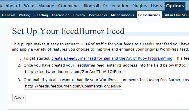 FeedBurner option page