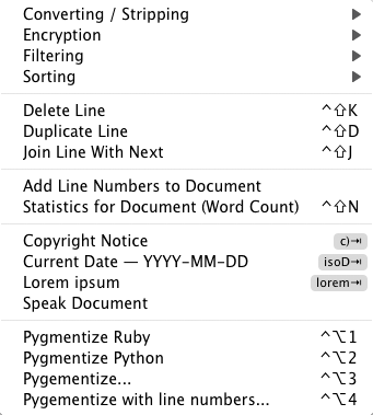 The Text menu