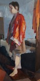 """Figure in Red Robe"", 2014, oil on hardboard, 37 x 18.5"""